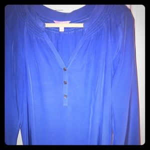 Lilly Pulitzer royal blue silk blouse